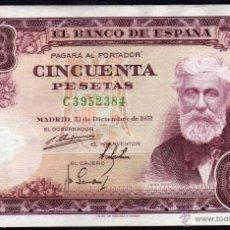 Billetes españoles: BILLETE ESPAÑA - 50 PESETRAS - MADRID 31-DICIEMBRE-1951 - SANTIAGO RUSIÑOL - SERIE:C - EBC+. Lote 43574451