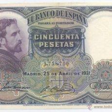 Billetes españoles: 50 PESETAS- 25-04-1931-SC. Lote 43574569
