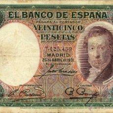 Billetes españoles: 25 PESETAS 1931 ( VICENTE LÓPEZ ) MBC . Lote 43938458