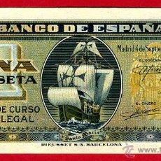 Billetes españoles: BILLETE 1 PESETA SEPTIEMBRE 1940 , PLANCHA , SERIE G , ORIGINAL , T565. Lote 44043953