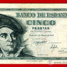 Billetes españoles: BILLETE 5 PESETAS 1948 , MBC+ , SERIE G , ORIGINAL , T633. Lote 44044092