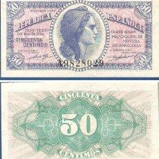 Billetes españoles: ESPAÑA-SEGUNDA REPÚBLICA-BILLETE DE 50 CENTIMOS EMISION SEPTIEMBRE DE 1937-PLANCHA. Lote 44328975