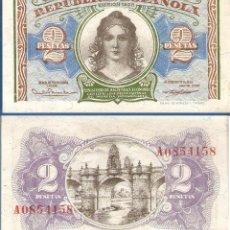 Billetes españoles: ESPAÑA-SEGUNDA REPÚBLICA-BILLETE DE 2 PESETAS EMISION DE 1938-PLANCHA. Lote 44329086