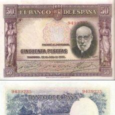 Billetes españoles: ESPAÑA-SEGUNDA REPÚBLICA-BILLETE DE 50 PESETAS 22 DE JULIO DE 1935-PLANCHA SIN SERIE. Lote 44329400