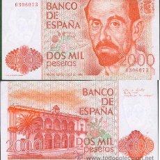 Billetes españoles: ESPAÑA-BILLETE DE 2000 PESETAS 22 DE JULIO DE 1980--PLANCHA Y SIN SERIE. Lote 44338901