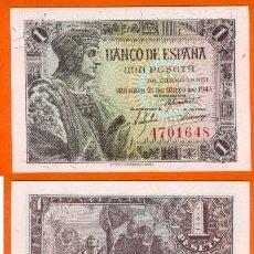 Billetes españoles: ESPAÑA-BILLETE DE 1 PESETA 21 DE MAYO DE 1943-PLANCHA Y SIN SERIE. Lote 44339214