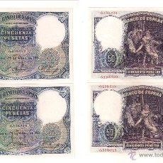 Billetes españoles: BILLETE DE LA SEGUNDA (II) REPÚBLICA DE 50 PESETAS DE 1931. MADRID. PAREJA CORRELATIVA. SC- (183).. Lote 26042591