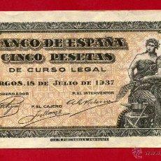 Billetes españoles: BILLETE 5 PESETAS 1937 , BURGOS , EBC- , SERIE B , ORIGINAL , T914. Lote 44469866