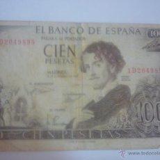 Billetes españoles: BILLETE DE 100 PESETAS DE ADOLFO BECQUER. Lote 44909450