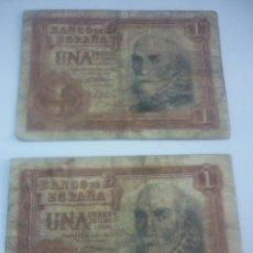 Billetes españoles: DOS BILLETES DE 1 PESETA AÑO 1953. Lote 44909580