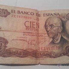 Billetes españoles: BILLETE CIEN PESETAS 1970 MANUEL DE FALLA. Lote 45058740