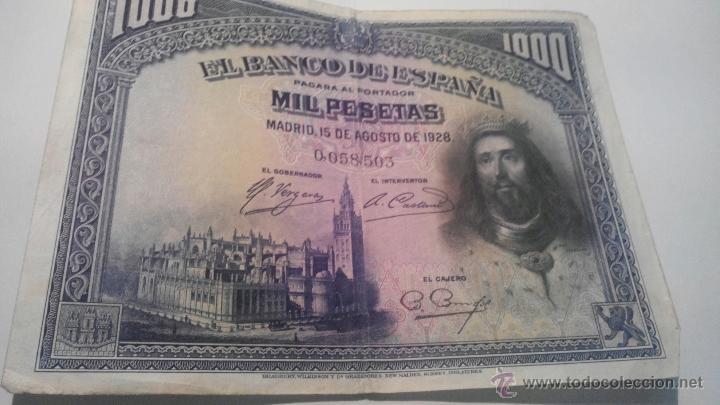 BILLETE 1000 PESETAS 1928 SIN SERIE (Numismática - Notafilia - Billetes Españoles)