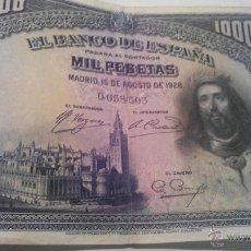 Billetes españoles: BILLETE 1000 PESETAS 1928 SIN SERIE. Lote 45058809
