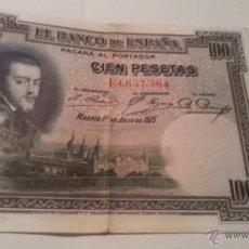 Billetes españoles: BILLETE 100 PESETAS 1925 FELIPE SEGUNDA REPÚBLICA. Lote 45058869