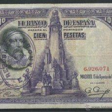 Billetes españoles: SELLO REPUBLICA ESPAÑOLA 100 PESETAS 1928, BURGOS CIVIL RARISIMO. Lote 114722728