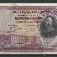 Billetes españoles: SELLO REPUBLICA ESPAÑOLA 50 PESETAS 1928, BURGOS CIVIL RARISIMO . Lote 114722920