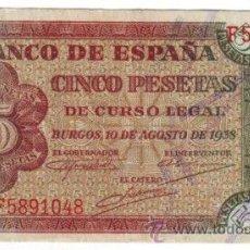 Billetes españoles: BANCO DE ESPAÑA 5 PESETAS BURGOS 10 AGOSTO 1938 SERIE F *NUMISBUR*. Lote 45241801