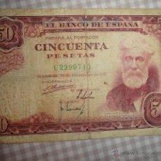 Billetes españoles: BILLETE 50 PESETAS 31 DICIEMBRE 1951 SANTIAGO RUSIÑOL SERIE C MBC- ESPAÑA. Lote 45378322