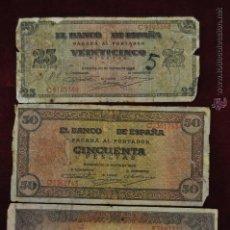 Billetes españoles: LOTE DE 3 BILLETES DE 25 50 Y 100 PESETAS. BURGOS 20 MAYO DEL 1938. Lote 45620226