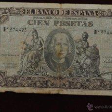 Billetes españoles: BILLETE BANCO DE ESPAÑA 100 PESETAS 1940 SERIE H1. Lote 45487578