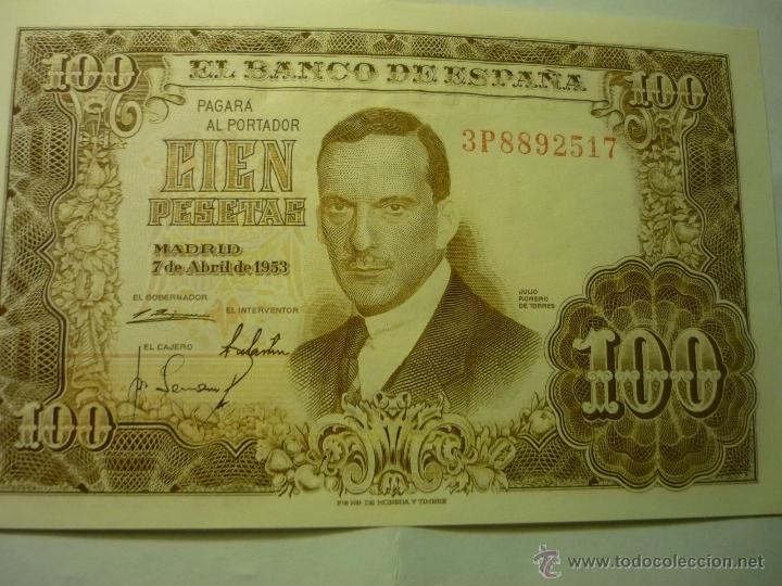 BILLETE CIEN PESETAS.-JULIO ROMERO .-7-4-53 (Numismática - Notafilia - Billetes Españoles)