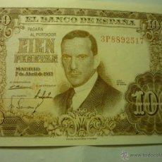 Billetes españoles: BILLETE CIEN PESETAS.-JULIO ROMERO .-7-4-53. Lote 45550268