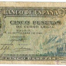 Billetes españoles: BILLETE DE 5 PESETAS DEL 4 DE SEPTIEMBRE DE 1940.. Lote 45554985