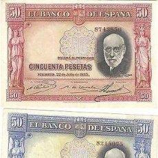 Billetes españoles: LOTE 2 BILLETES 50 PESETAS 1935 VARIANTE ROJA Y AZUL SPECIMEN. Lote 133501579