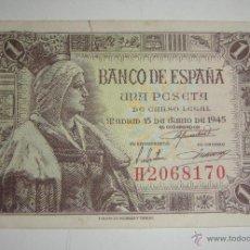 Billetes españoles: 1 PESETA. 1945. SERIE H.. Lote 45726829
