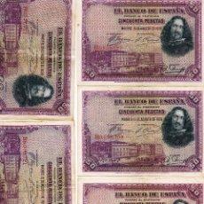 Billetes españoles: LOTE DE CINCO BILLETES DE 50 PESETAS AÑO 1928. Lote 45783363