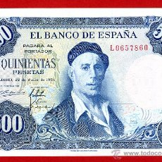 Billetes españoles: BILLETE 500 PESETAS 1954 , EBC+ , SERIE L , ORIGINAL ,T960. Lote 45799339