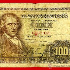Billetes españoles: BILLETE 100 PESETAS 1948 , MBC-- , SERIE C ,ORIGINAL , T161. Lote 45800504