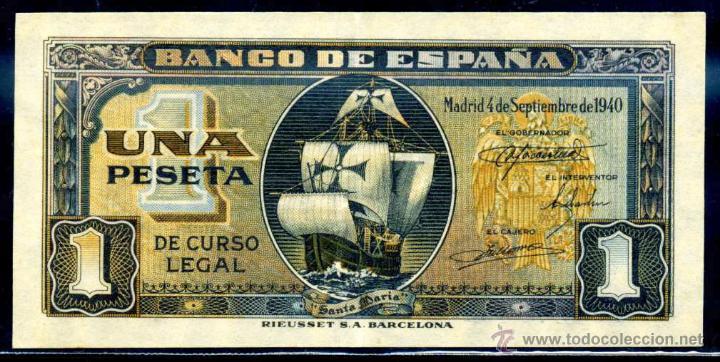 1 PESETA SEPTIEMBRE 1940 EBC (Numismática - Notafilia - Billetes Españoles)