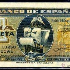 Billetes españoles: 1 PESETA SEPTIEMBRE 1940 EBC . Lote 45923176