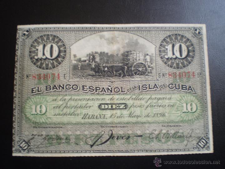 EL BANCO ESPAÑOL. DE LA ISLA DE CUBA. 10 PESOS- AÑO 1896 (Numismática - Notafilia - Billetes Españoles)