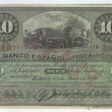 Billetes españoles: BILLETE ANTIGUO COLONIAL DE CUBA ESPAÑOLA ANTILLAS 10 PESOS AÑO 1896 PLATA CAÑA DE AZUCAR BONITO. Lote 61302951