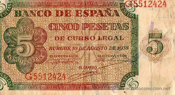 CINCO PESETAS BURGOS 10 DE AGOSTO 1938 (Numismática - Notafilia - Billetes Españoles)