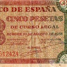 Billetes españoles: CINCO PESETAS BURGOS 10 DE AGOSTO 1938. Lote 46389715