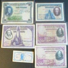 Billetes españoles: LOTE 6 BILLETES ESPAÑOLES. Lote 46500325