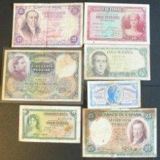 Billetes españoles: 7 BILLETES ESPAÑOLES. Lote 46500505
