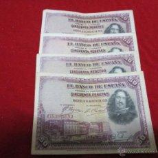 Billetes españoles: 4 BILLETES DE 50 PESETAS MADRID 15 DE AGOSTO 1928. Lote 46515830