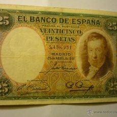 Billetes españoles: BILLETE BANCO ESPAÑA-VEINTICINCO PESETAS - 25-4-31. Lote 47027704