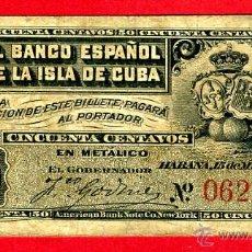 Banconote spagnole: BILLETE 50 CENTAVOS BANCO ESPAÑOL ISLA CUBA, 1896 , EPOCA COLONIAL, MBC , ORIGINAL , T986. Lote 47108172