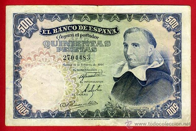 BILLETE 500 PESETAS 1946 , MBC , SIN SERIE , ORIGINAL , T483 (Numismática - Notafilia - Billetes Españoles)