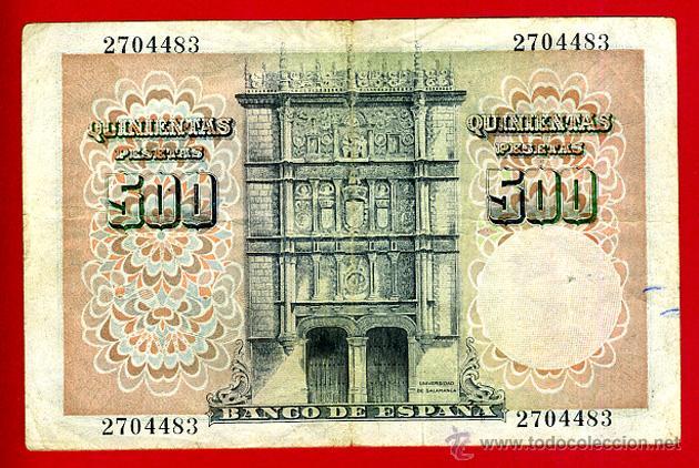 Billetes españoles: BILLETE 500 PESETAS 1946 , MBC , SIN SERIE , ORIGINAL , T483 - Foto 2 - 47109892