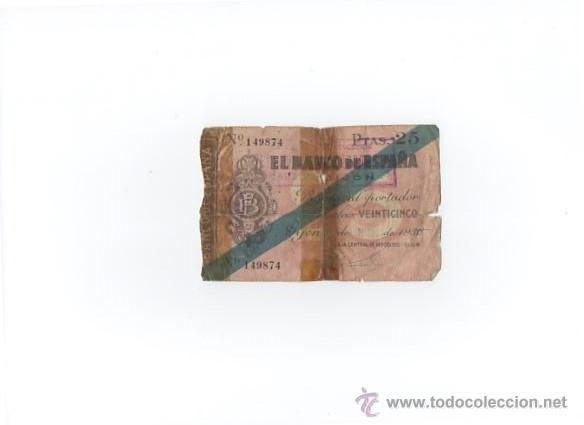 BILLETE 25 PESETAS BANCO DE ESPAÑA GIJÓN 1936 (Numismática - Notafilia - Billetes Españoles)