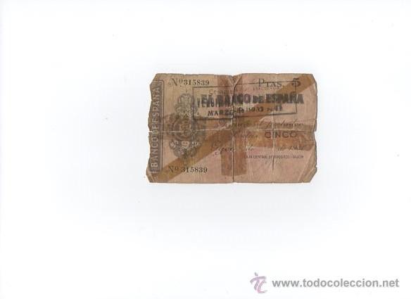 BILLETE 5 PESETAS BANCO DE ESPAÑA GIJÓN 1936 (Numismática - Notafilia - Billetes Españoles)