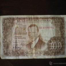 Billetes españoles: BILLETE DE CIEN PESETAS-1953-JULIO ROMERO DE TORRES. Lote 47682957