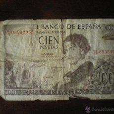 Billetes españoles: BILLETE DE CIEN PESETAS-19 DE NOVIEMBRE DE 1965-GUSTAVO ADOLFO BECQUER. Lote 47683150