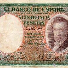 Billetes españoles: 25 PESETAS 1931 ( VICENTE LÓPEZ ) MBC . Lote 47783647